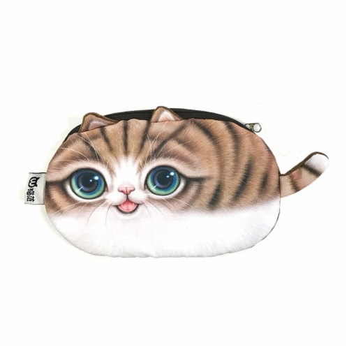 Wrapables Cat Face Cosmetic Pouch Pencil Case (Set of 2), Playful & Happy Perspective: back