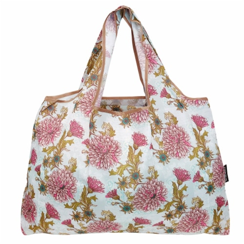 Wrapables Large Nylon Reusable Shopping Bag, Vintage Chrysanthemums Perspective: back