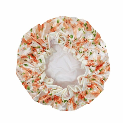 Wrapables Reusable Women's Waterproof Shower Caps for Long Hair, Peach Floral Perspective: back