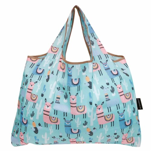Wrapables Large Nylon Reusable Shopping Bags (Set of 3), Flamingoes, Dogs, Llamas Perspective: back