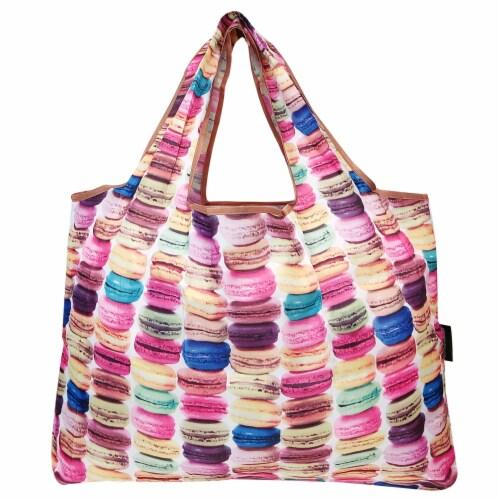 Wrapables Large Nylon Reusable Shopping Bag, Macarons Perspective: back