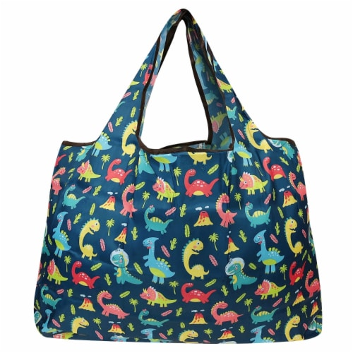 Wrapables Large Nylon Reusable Shopping Bags (Set of 3), Amazing Animals Perspective: back