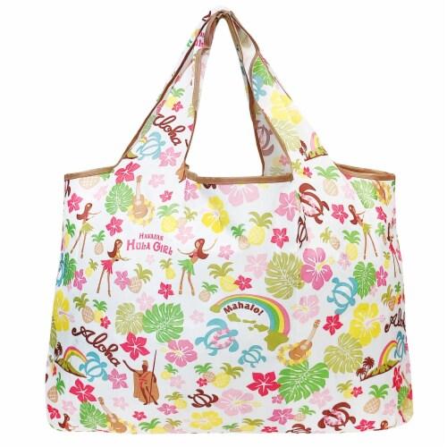 Wrapables Large Nylon Reusable Shopping Bag, Hawaiian Fun Perspective: back
