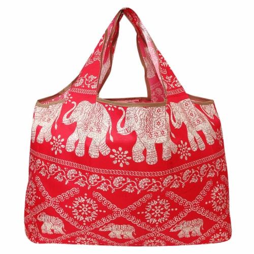 Wrapables Large Nylon Reusable Shopping Bag, Regal Elephants Perspective: back