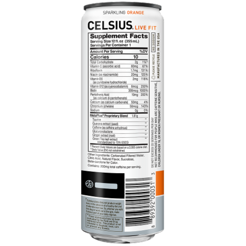 Celsius Sparkling Orange Dietary Supplement Energy Drink Perspective: back