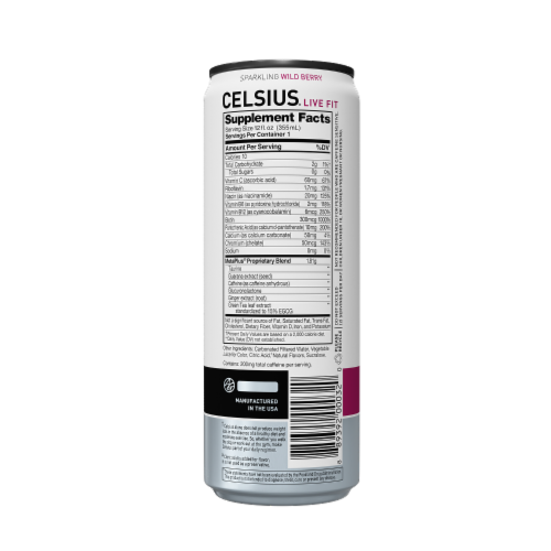 Celsius Sparkling Wild Berry Dietary Supplement Energy Drink Perspective: back