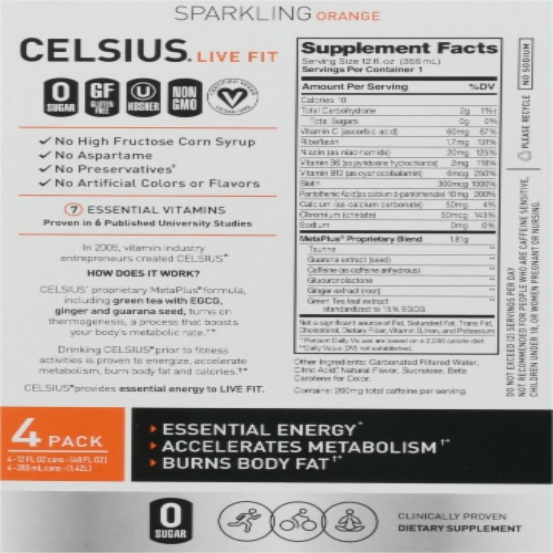 Celsius Orange Sparkling Drink Perspective: back