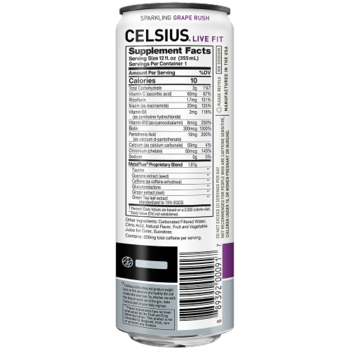 Celsius Sparkling Grape Rush Dietary Supplement Energy Drink Perspective: back