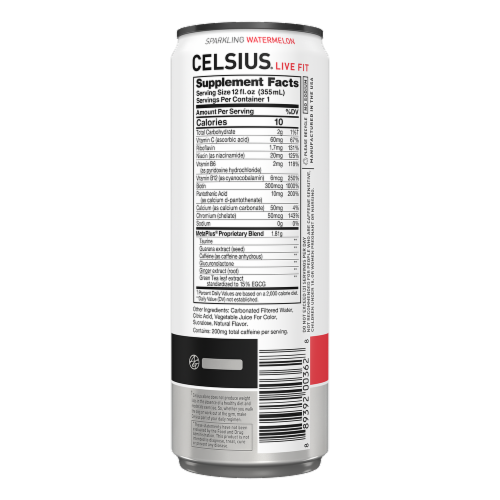 Celsius® Sparkling Watermelon Dietary Supplement Energy Drink Perspective: back