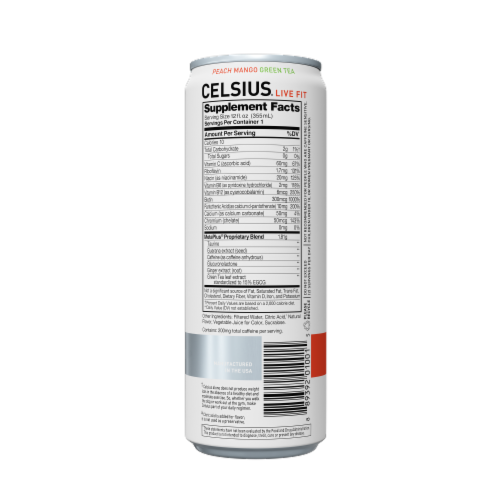 Celsius Peach Mango Green Tea Dietary Supplement Energy Drink Perspective: back