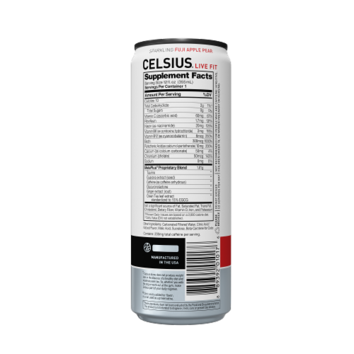 Celsius Sparkling Fuji Apple Pear Dietary Supplement Drink Perspective: back