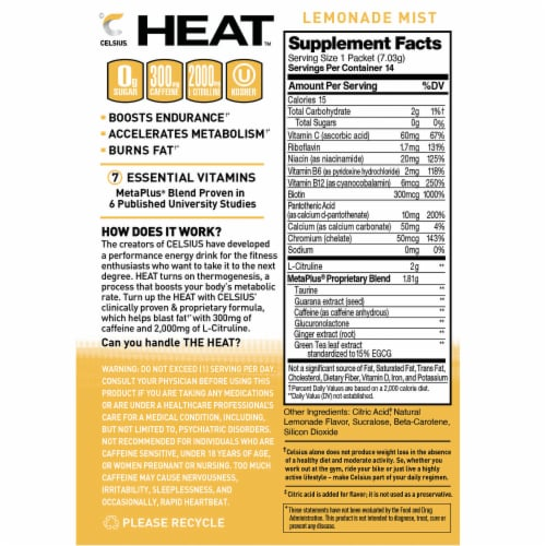 Celsius Lemonade Mist Heat Box Perspective: back