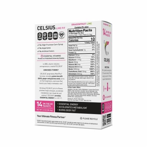 Celsius® Dragonfruit Lime Flavor Stick Packets Perspective: back