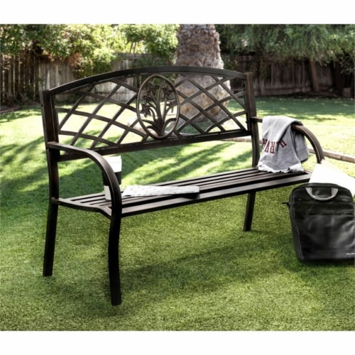 Palmer Slatted Patio Bench in Black - Furniture of America Perspective: back