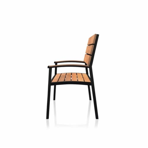 Furniture of America Adonde Transitional Wood and Metal Outdoor Bench in Oak Perspective: back