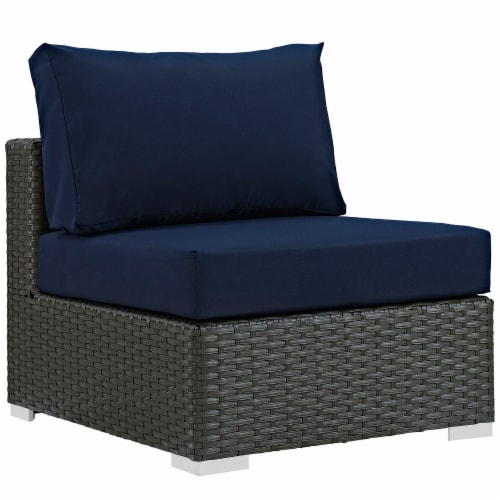 Sojourn 5 Piece Outdoor Patio Sunbrella Sectional Set - Canvas Navy Perspective: back