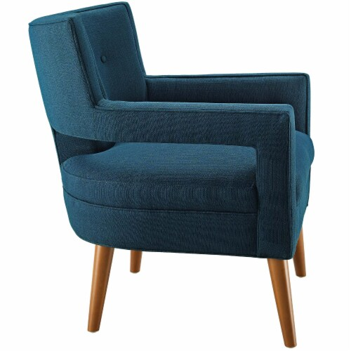 Sheer Upholstered Fabric Armchair - Azure Perspective: back