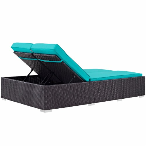 Convene Double Outdoor Patio Chaise - Espresso Turquoise Perspective: back