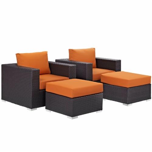 Convene 4 Piece Outdoor Patio Sectional Set - Espresso Orange Perspective: back