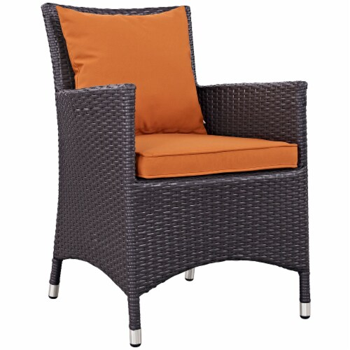 Convene 7 Piece Outdoor Patio Dining Set - Espresso Orange Perspective: back