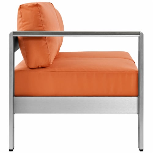 Shore Left-Arm Corner Sectional Outdoor Patio Aluminum Loveseat - Silver Orange Perspective: back