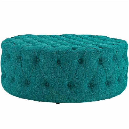 Amour Upholstered Fabric Ottoman, Teal Perspective: back