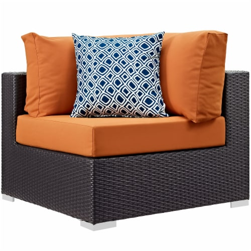 Convene 5 Piece Outdoor Patio Sectional Set - Espresso Orange Perspective: back