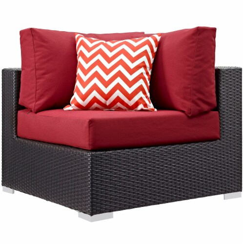 Convene 5 Piece Outdoor Patio Sectional Set - Espresso Red Perspective: back