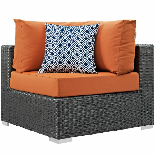 Sojourn 7 Piece Outdoor Patio Sunbrella Sectional Set - Canvas Tuscan Perspective: back