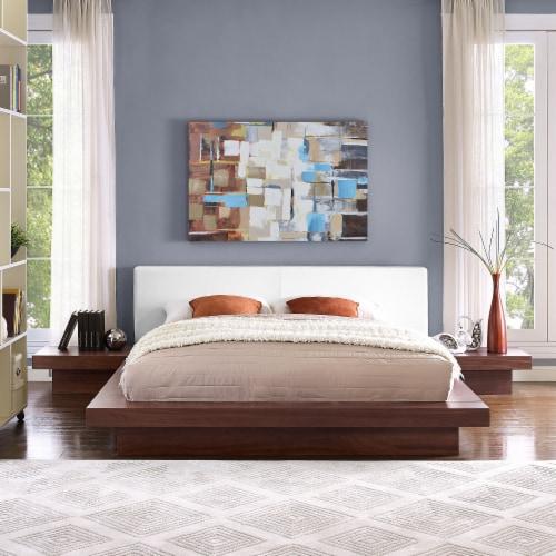 Freja 3 Piece Queen Vinyl Bedroom Set - Walnut White Perspective: back