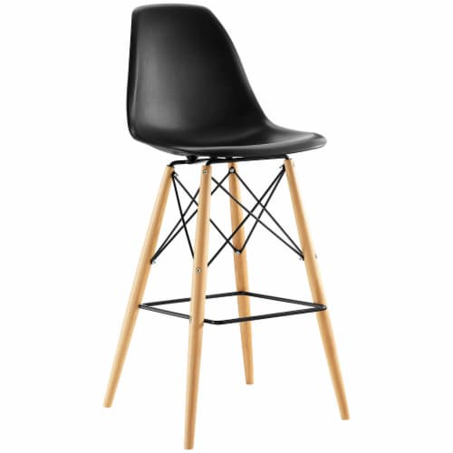 Pyramid Dining Side Bar Stool Set of 4 - Black Perspective: back