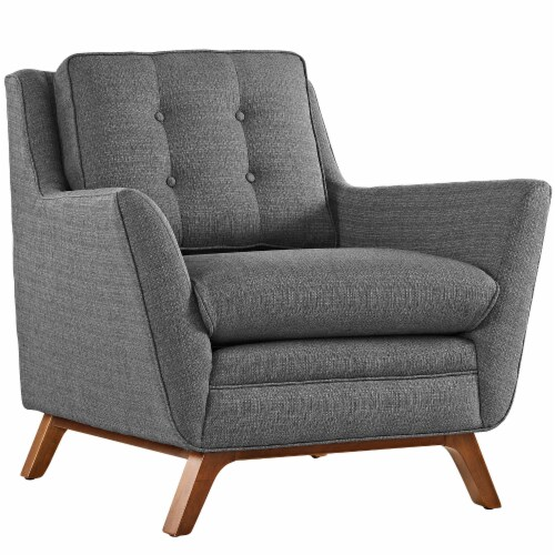 Beguile Living Room Set Upholstered Fabric Set of 2 - Gray Perspective: back