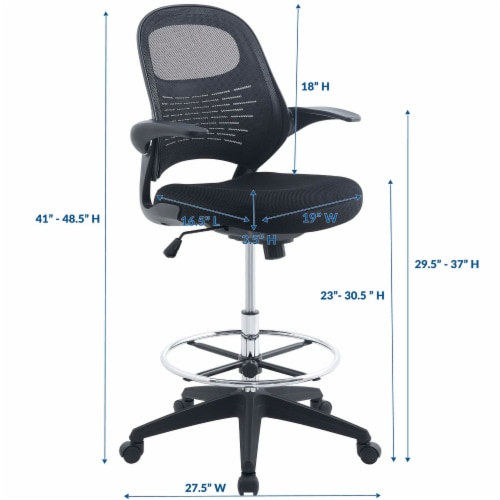 Advance Drafting Chair, Black Perspective: back