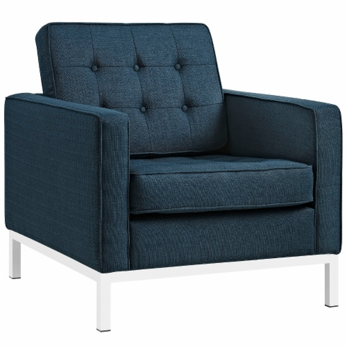 Loft 3 Piece Upholstered Fabric Sofa and Armchair Set - Azure Perspective: back