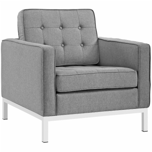 Loft 3 Piece Upholstered Fabric Sofa and Armchair Set - Light Gray Perspective: back