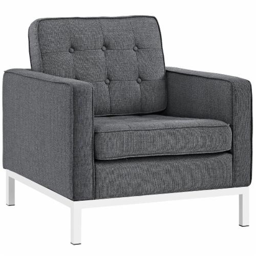 Loft Living Room Set Upholstered Fabric Set of 3 - Gray Perspective: back