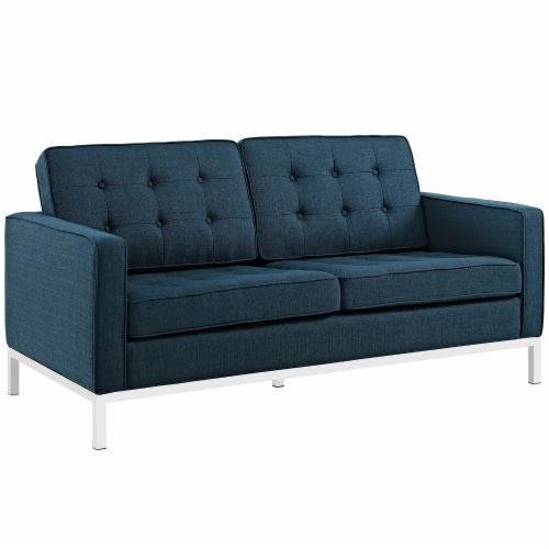 Loft 2 Piece Upholstered Fabric Sofa and Loveseat Set - Azure Perspective: back