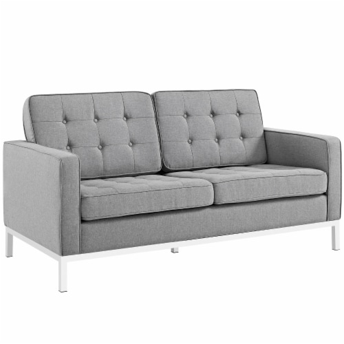 Loft 2 Piece Upholstered Fabric Sofa and Loveseat Set - Light Gray Perspective: back