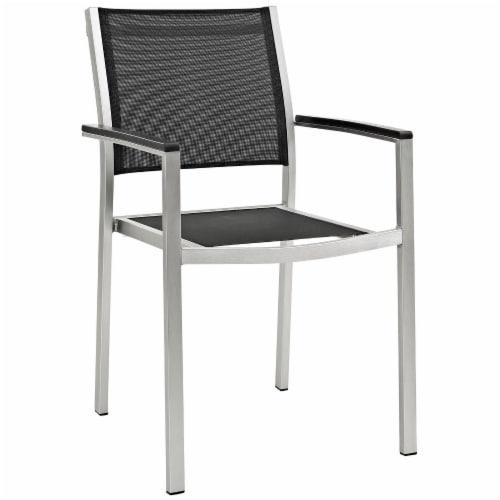 Shore 7 Piece Outdoor Patio Aluminum Dining Set - Silver Black Perspective: back
