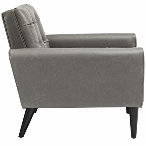 Delve Upholstered Vinyl Accent Chair - Gray Perspective: back