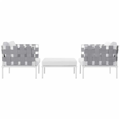 Harmony 3 Piece Outdoor Patio Aluminum Sectional Sofa Set - White White Perspective: back