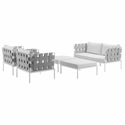 Harmony 5 Piece Outdoor Patio Aluminum Sectional Sofa Set - White White Perspective: back