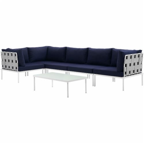 Harmony 6 Piece Outdoor Patio Aluminum Sectional Sofa Set - White Navy Perspective: back
