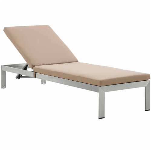 Shore Chaise with Cushions Outdoor Patio Aluminum Set of 2 - Silver Mocha Perspective: back