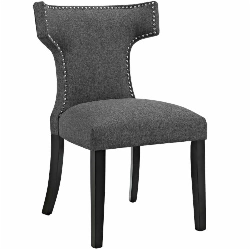 Curve Dining Side Chair Fabric Set of 2 - Gray Perspective: back