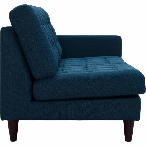 Empress Right-Facing Upholstered Fabric Loveseat - Azure Perspective: back