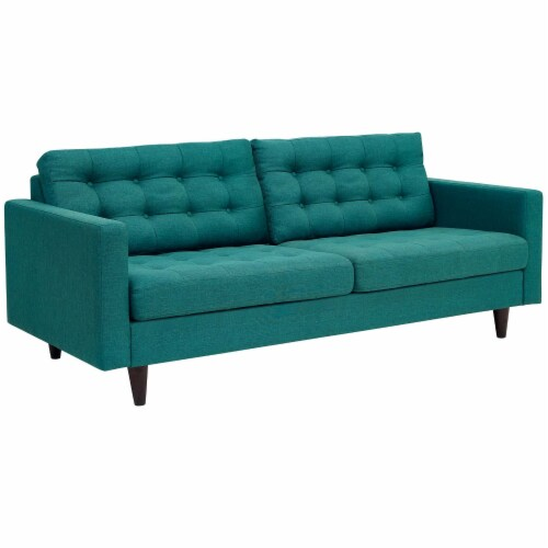 Empress Upholstered Fabric Sofa - Teal Perspective: back