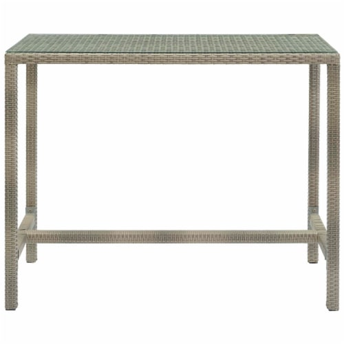 Conduit Outdoor Patio Wicker Rattan Large Bar Table - Light Gray Perspective: back