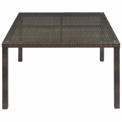 """Conduit 47"""" Outdoor Patio Wicker Rattan Dining Table - Brown Perspective: back"""