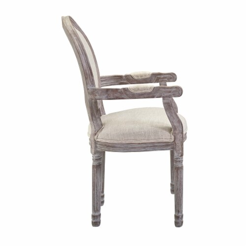 Emanate Vintage French Upholstered Fabric Dining Armchair - Beige Perspective: back